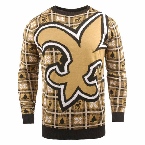 New Orleans Saints NFL Big Logo Checker Ugly Christmas Sweater