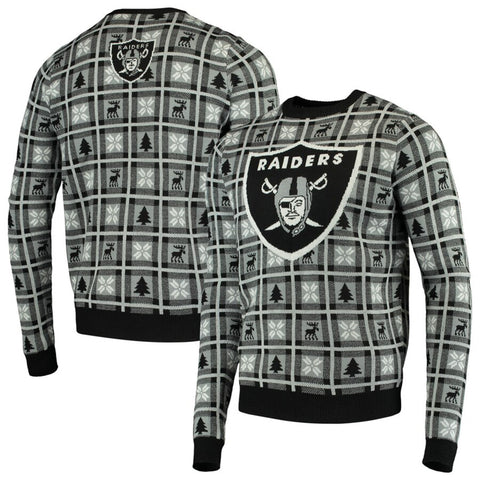 Oakland Raiders NFL Big Logo Checker Ugly Christmas Sweater