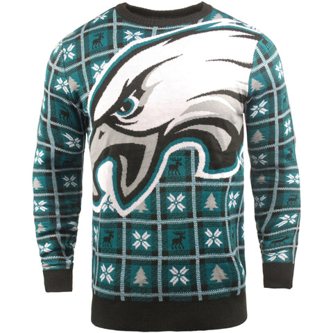 Philadelphia Eagles NFL Big Logo Checker Ugly Christmas Sweater