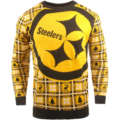 Pittsburgh Steelers NFL Big Logo Checker Ugly Christmas Sweater