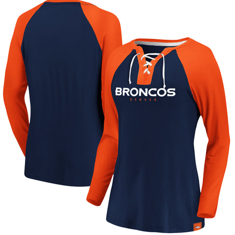 Ladies' Denver Broncos NFL Fanatics Break Out Play Lace-Up Long Sleeve