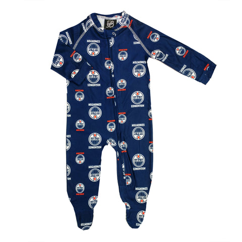 Infant Edmonton Oilers NHL Raglan Zip Up Coverall