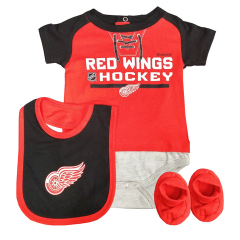 Detroit Red Wings Junior League Bodysuit, Bib & Bootie Pack