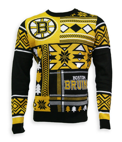 Boston Bruins Mens Patchwork Crew Sweater