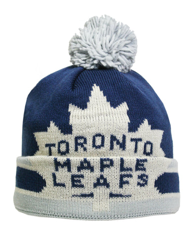 Toronto Maple Leafs Oversized Logo Cuffed Pom Knit Toque