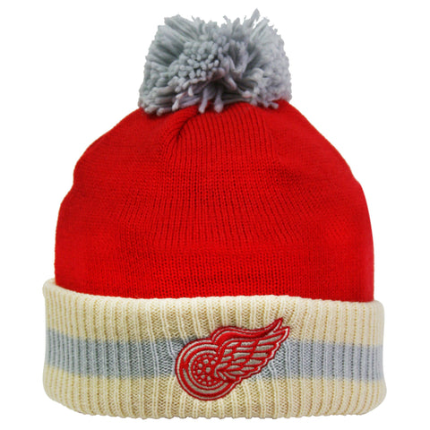 Detroit Red Wings Stripe Cuffed Pom Knit Toque