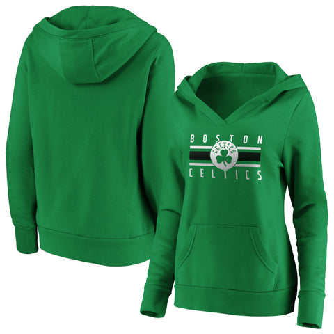 Ladies' Boston Celtics NBA Stacked Stripes Notch Neck Hoodie