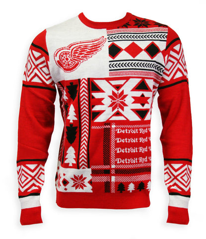 Detroit Red Wings Mens Patchwork Crew Sweater