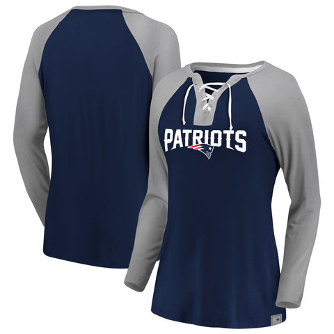 Ladies' New England Patriots NFL Fanatics Break Out Play Lace-Up Long Sleeve
