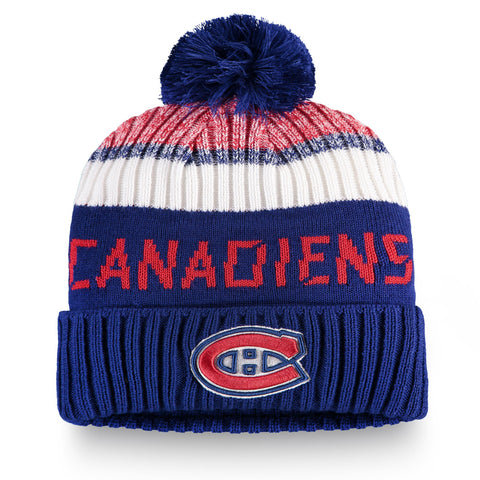 Youth Montreal Canadiens NHL Authentic Pro Rinkside Cuffed Knit Pom Pom Toque