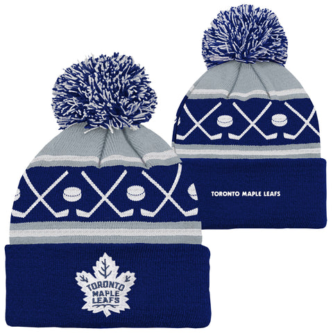 Youth Toronto Maple Leafs NHL Hockey Pom Pom Cuffed Knit Toque