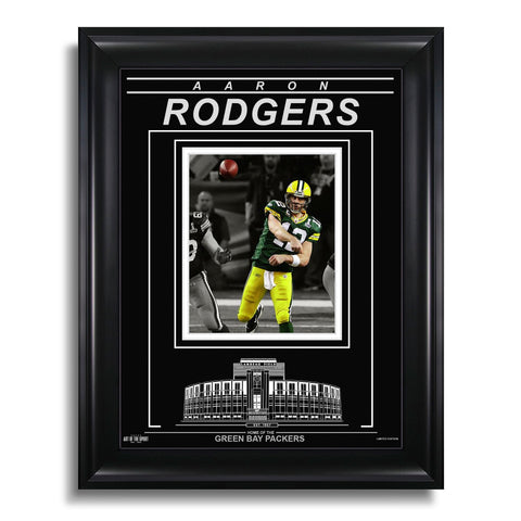 Aaron Rodgers Green Bay Packers Engraved Framed Photo - Action Spotlight