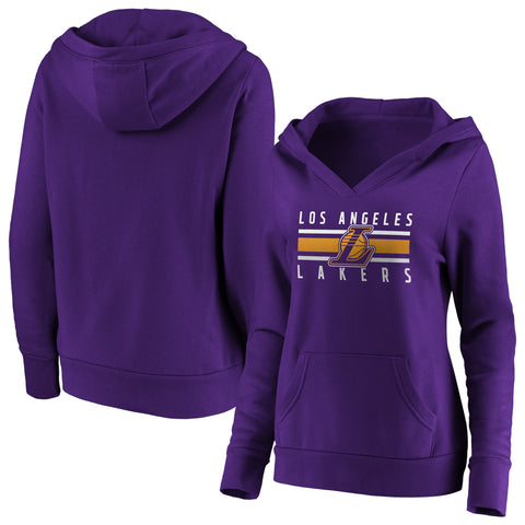 Ladies' Los Angeles Lakers NBA Stacked Stripes Notch Neck Hoodie