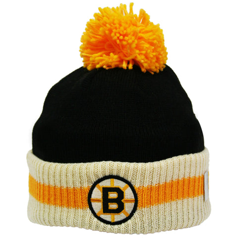 Boston Bruins Stripe Cuffed Pom Knit Toque