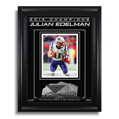 New England Patriots NFL Super Bowl LIII Champions Engraved Framed Photo - Julian Edelman MVP