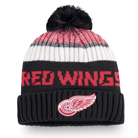 Youth Detroit Red Wings NHL Authentic Pro Rinkside Cuffed Knit Pom Pom Toque