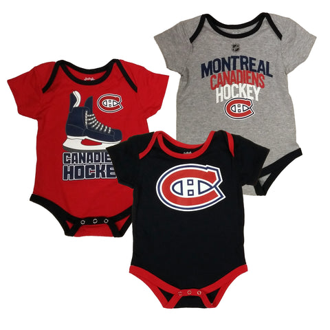 Montreal Canadiens Hat Trick 3-Pack Bodysuit