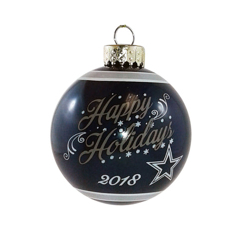 Dallas Cowboys NFL Happy Holidays Glass Ball Ornament