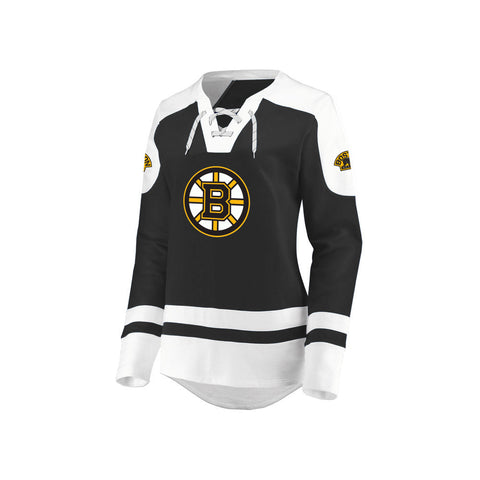 Ladies' Boston Bruins NHL Centre Long Sleeve Lace-Up Crew