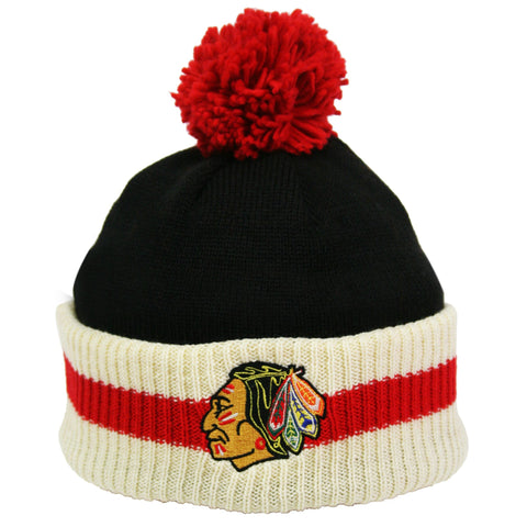 Chicago Blackhawks Stripe Cuffed Pom Knit Toque