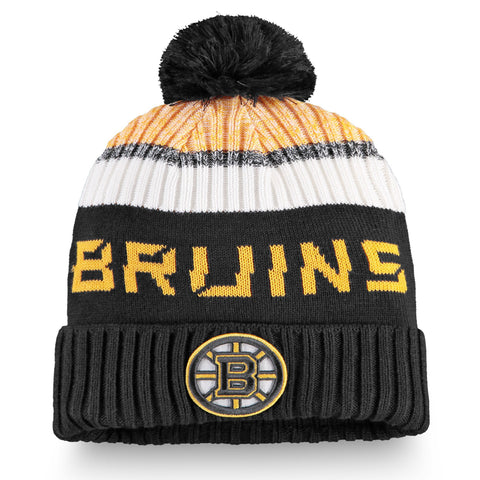 Youth Boston Bruins NHL Authentic Pro Rinkside Cuffed Knit Pom Pom Toque