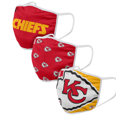 Unisex Kansas City Chiefs NFL 3-pack Resuable Gametime Face Covers