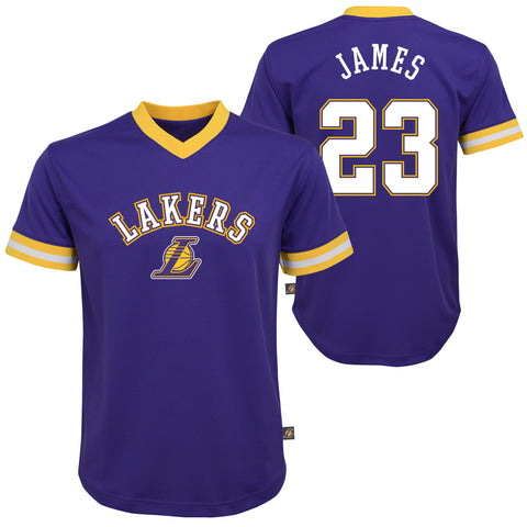 Youth LeBron James Los Angeles Lakers NBA Printed Mesh Team V-Neck Crew