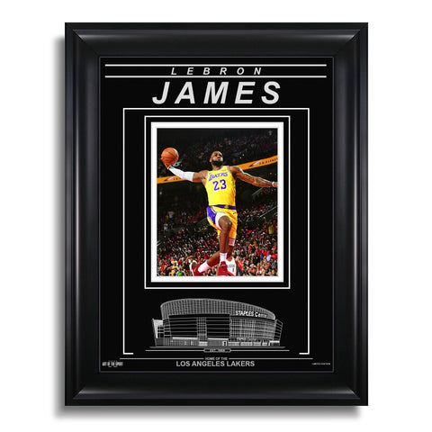 LeBron James Los Angeles Lakers Engraved Framed Photo - Signature Dunk