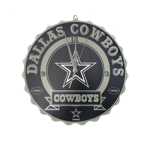 Dallas Cowboys NFL Bottle Cap Wordmark Wall Clock