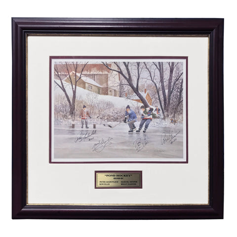 Pond Hockey – Peter Mahovlich, Marcel Dionne, Ron Ellis & Brian Glennie Signed Limited Edition Print