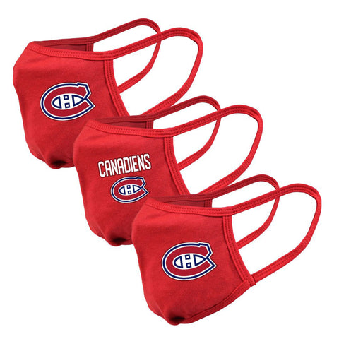Men's Montreal Canadiens NHL 3-pack Team Logo Face Masks