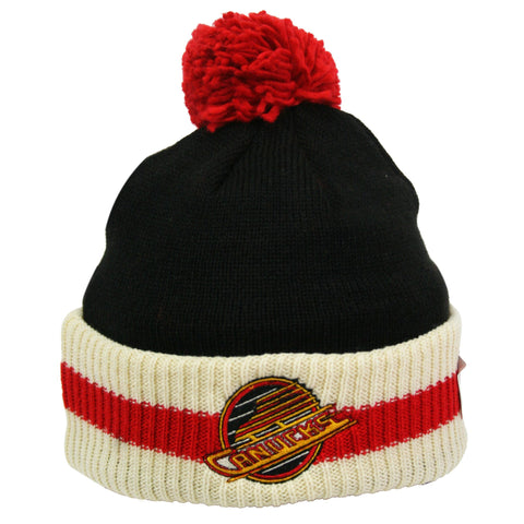 Vancouver Canucks Stripe Cuffed Pom Knit Toque