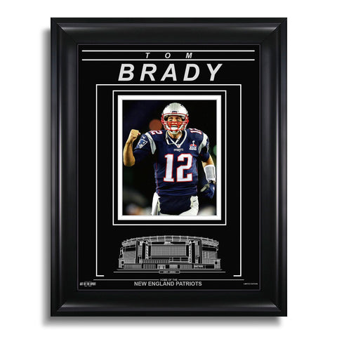 Tom Brady New England Patriots Engraved Framed Photo - Action Facing