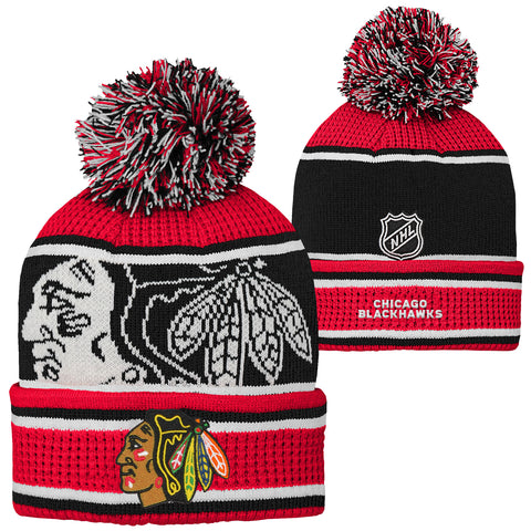Youth Chicago Blackhawks NHL Grinder Pom Pom Cuff Knit Toque