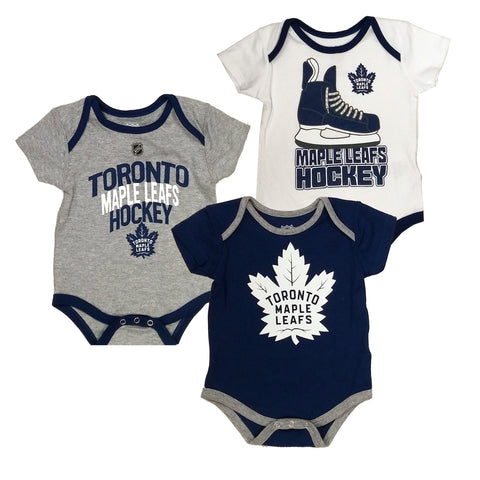 Toronto Maple Leafs Hat Trick 3-Pack Bodysuit