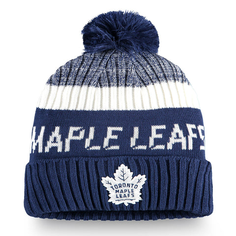 Youth Toronto Maple Leafs NHL Authentic Pro Rinkside Cuffed Knit Pom Pom Toque