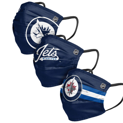 Unisex Winnipeg Jets NHL 3-pack Reusable Pleated Matchday Face Covers