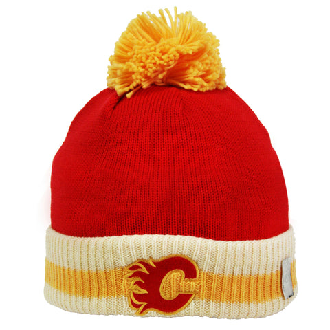 Calgary Flames Stripe Cuffed Pom Knit Toque