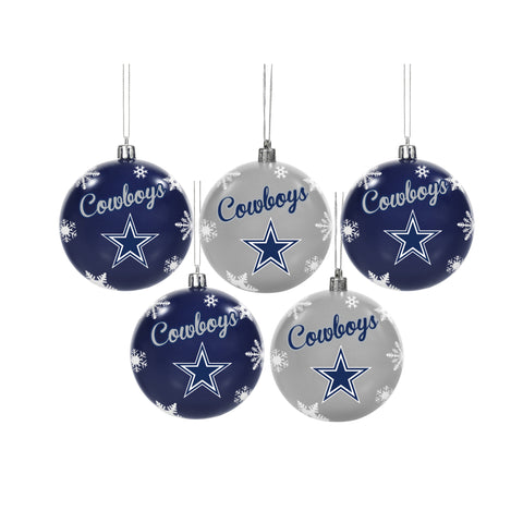 Dallas Cowboys NFL 5 Pack Snowflake Shatterproof Ornaments