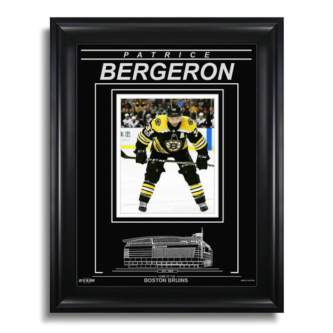 Patrice Bergeron Boston Bruins Engraved Framed Photo - Face Off