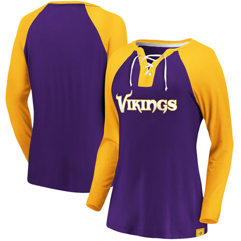 Ladies' Minnesota Vikings NFL Fanatics Break Out Play Lace-Up Long Sleeve