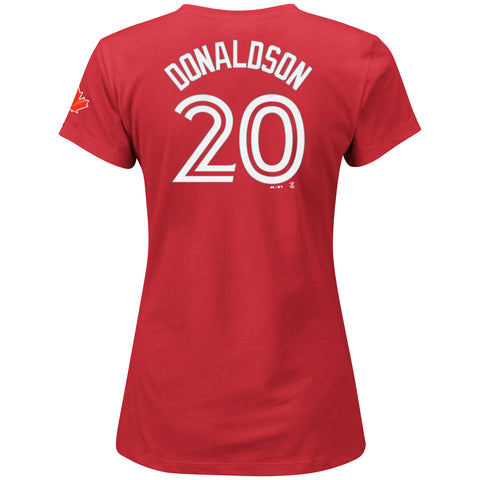 Ladies' Toronto Blue Jays Josh Donaldson Red Player T-Shirt