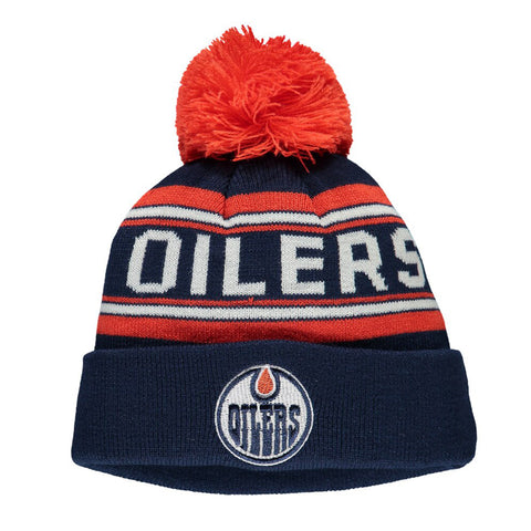 Youth Edmonton Oilers NHL Wordmark Jacquard Cuffed Knit Pom Pom Toque