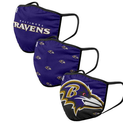 Unisex Baltimore Ravens NFL 3-pack Resuable Gametime Face Covers
