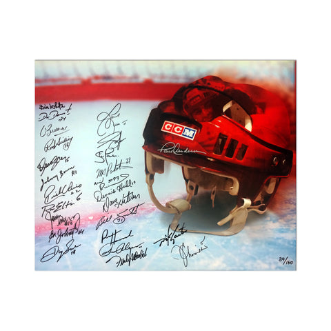 Multi-Signed Limited Edition Vintage Hockey Helmet Canvas Print - 25 Signatures