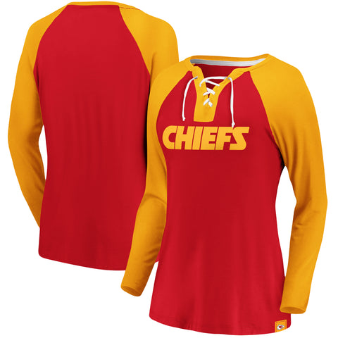 Ladies' Kansas City Chiefs NFL Fanatics Break Out Play Lace-Up Long Sleeve