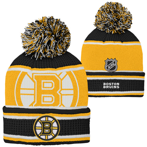 Youth Boston Bruins NHL Grinder Pom Pom Cuff Knit Toque