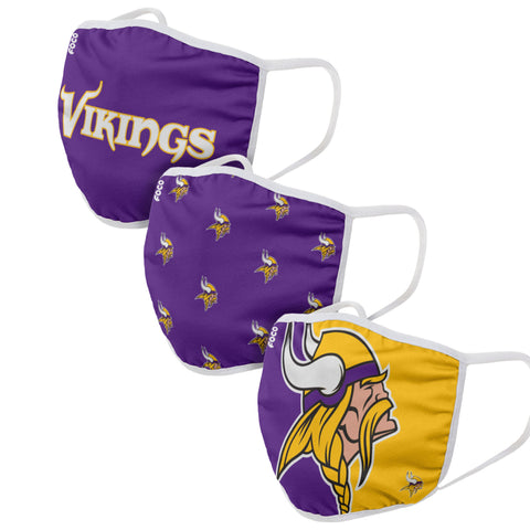 Unisex Minnesota Vikings NFL 3-pack Resuable Gametime Face Covers