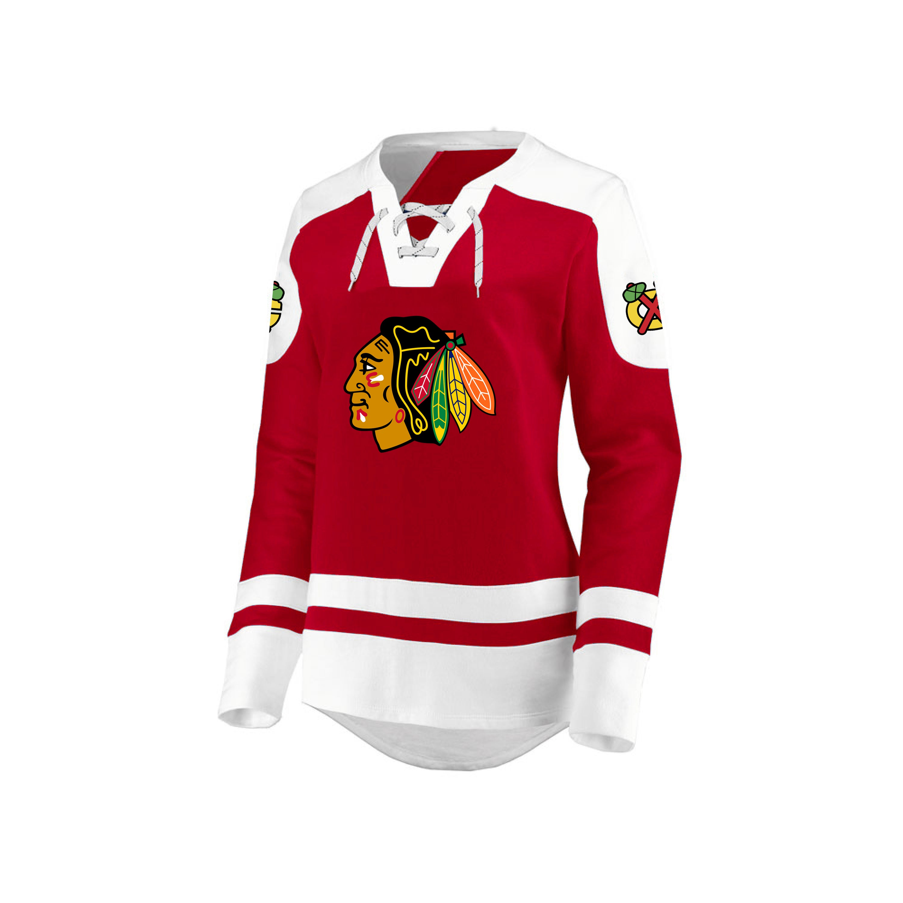 d1611c1bb Ladies' Chicago Blackhawks NHL Centre Long Sleeve Lace-Up Crew – Sport Army