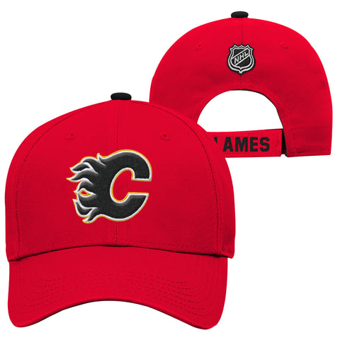 Youth Calgary Flames NHL Basic Structured Adjustable Cap